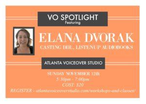 VO Spotlight Night at Atlanta Voiceover Studio featuring Elana Dvorak
