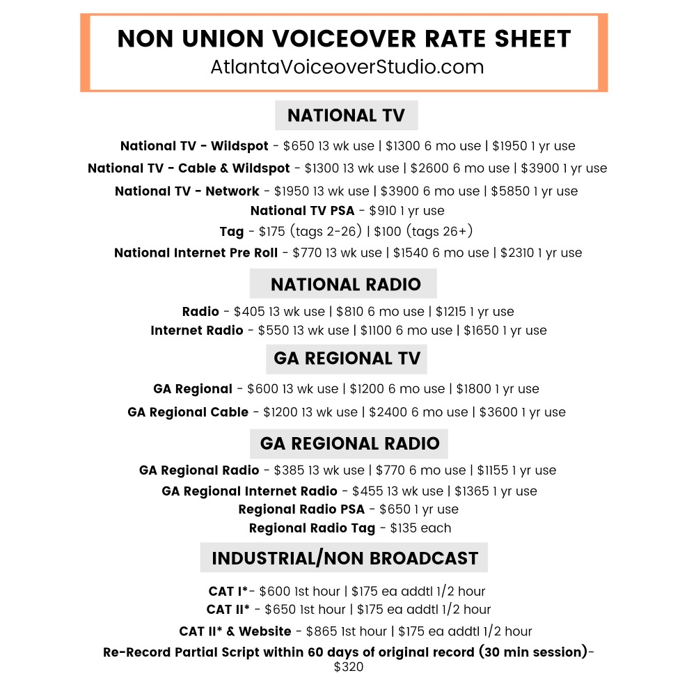 Non Union Voiceover Rate Sheet - Georgia | AtlantaVoiceoverStudio.com